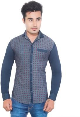 Goodkarma Men's Printed Casual Blue Shirt