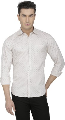 Spaky Men's Printed Casual Beige Shirt