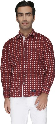 Again? Vintage Men's Printed Casual Maroon Shirt