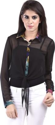 Aarr Women,s Solid Casual Black Shirt