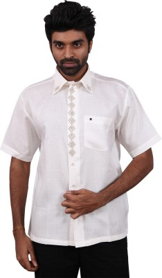 Karlsburg Men's Embroidered Casual Silver, White Shirt