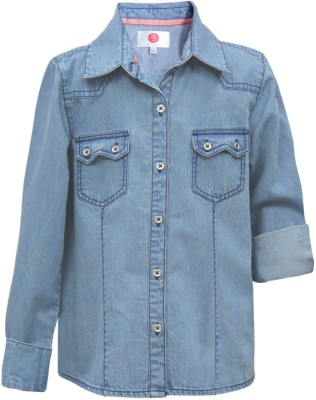 The Cranberry Club Girl's Solid Casual Light Blue Shirt