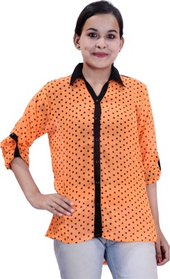 Krazzy Collection Women,s Printed Casual Orange, Black Shirt