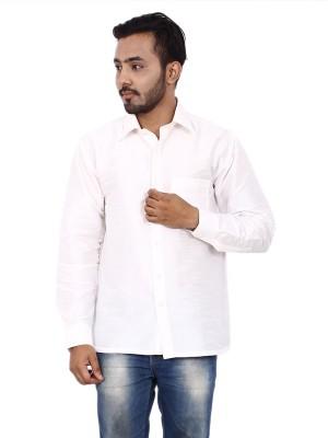 KENRICH Men's Solid Casual White Shirt