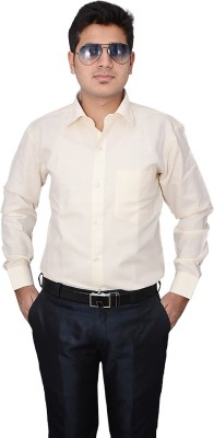 Indocity Men's Solid Formal Yellow, White Shirt