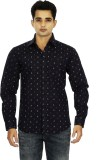 Binnote Men's Printed Casual Dark Blue S...