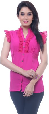Lynda Women's Solid Casual Pink Shirt