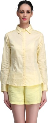 Madame Women's Solid Casual Yellow Shirt