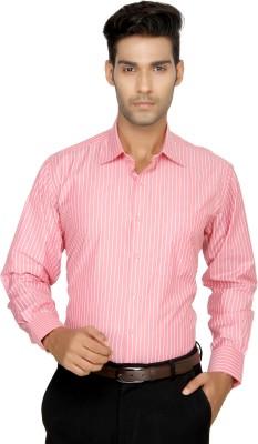 Devaa Men's Striped Formal Pink Shirt