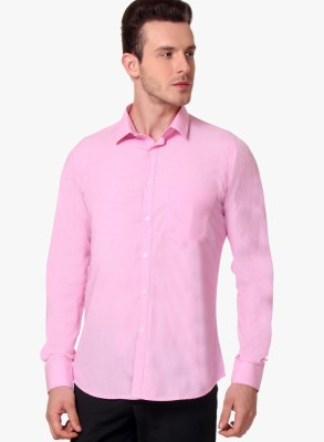 Erza Men's Solid Casual Pink Shirt