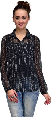 IRACC Women's Polka Print Casual Black Shirt