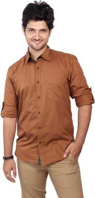 Ecohawk Men's Solid Casual Gold Shirt