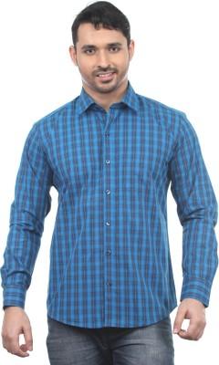 Chill Men's Checkered Formal Blue Shirt