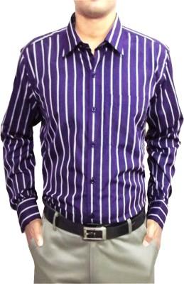 Shine Shirts Men's Striped Formal Dark Blue Shirt