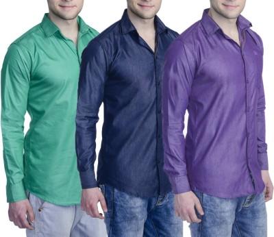 Aligatorr Men's Solid Formal Purple, Green, Dark Blue Shirt