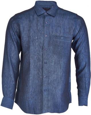 Nanya Men's Solid Casual Linen Dark Blue Shirt