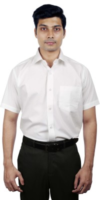 Nerellaas Men's Solid Formal White Shirt