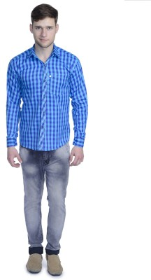 Aligatorr Men's Checkered Formal Blue Shirt