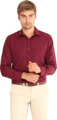 I-Voc Men's Solid Formal Maroon Shirt