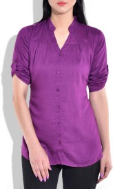 Queenyouapparel Girls Solid Formal Purple Shirt