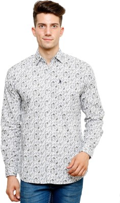 Ebry Men's Printed Casual White, Grey Shirt