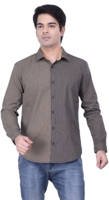 HOH Men's Printed Casual, Festive, Party, Wedding, Festive, Lounge Wear Beige Shirt