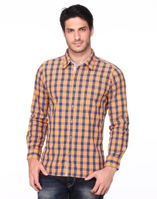 Fire & Ice Men's Checkered Casual Orange Shirt