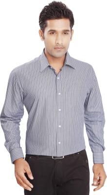 Boonplush Men's Striped Formal Blue Shirt