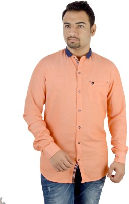 MTN Men's Solid Casual Orange Shirt
