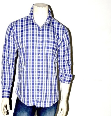 Indian Touch Men,s Checkered Casual Blue, White Shirt