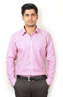 Frissk Men's Striped Formal Pink Shirt