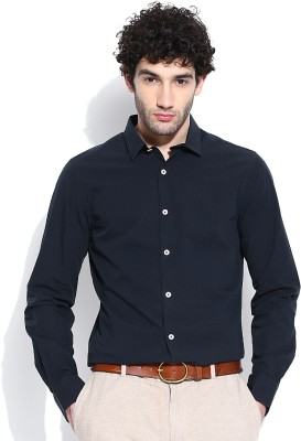 United Colors of Benetton Men's Self Design Casual Dark Blue Shirt