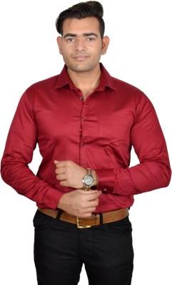 Lomhara Men's Solid Formal Red Shirt