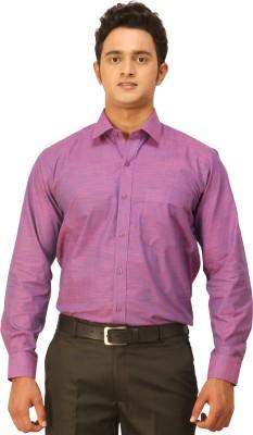 Seven Days Men's Self Design Formal Purple Shirt