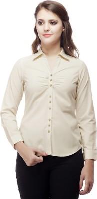 ORIANNE Women's Solid Formal Beige Shirt