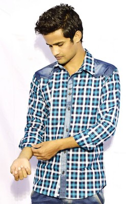 Sharp Fashion Men's Checkered Casual Blue Shirt