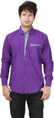 REFUEL SPORT Men's Solid Casual Purple Shirt