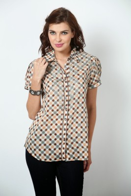 Love From India Women's Checkered Casual Brown Shirt