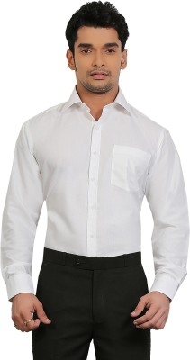 A & C Signature Men's Solid Formal White Shirt