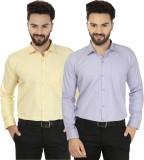 Jainish Men's Solid Formal Yellow, Purpl...