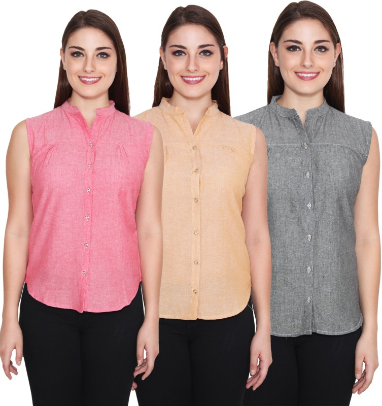 NumBrave Women's Solid Casual Pink, Beige, Grey Shirt(Pack of 3)