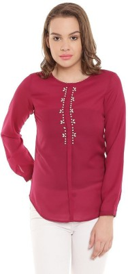 The Vanca Women's Solid Casual Red Shirt