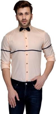 Edjoe Men's Solid Casual, Party Beige Shirt