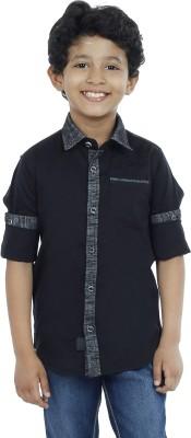 OKS Boys Boy's Solid Casual Black Shirt