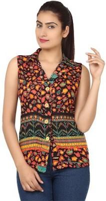 PINK SISLY Women's Animal Print Casual Orange Shirt