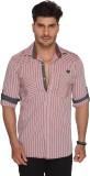 Ramarrow Men's Striped Casual Pink Shirt
