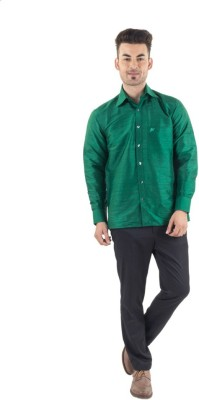 Scot Wilson Men's Solid Casual Green Shirt