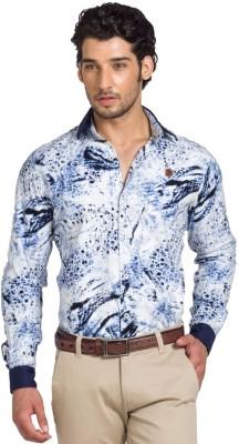YOO Men's Printed Casual Blue Shirt