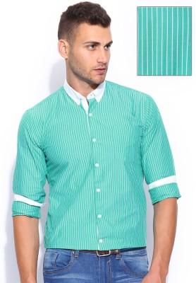 Mast & Harbour Men's Striped Formal Green Shirt