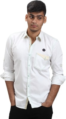 Fashion Bean Men's Solid Casual, Party White Shirt